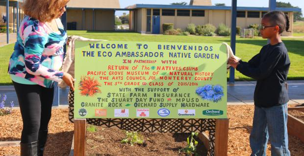 The Eco Ambassador Native  Garden at a Monterey Peninsula school.
