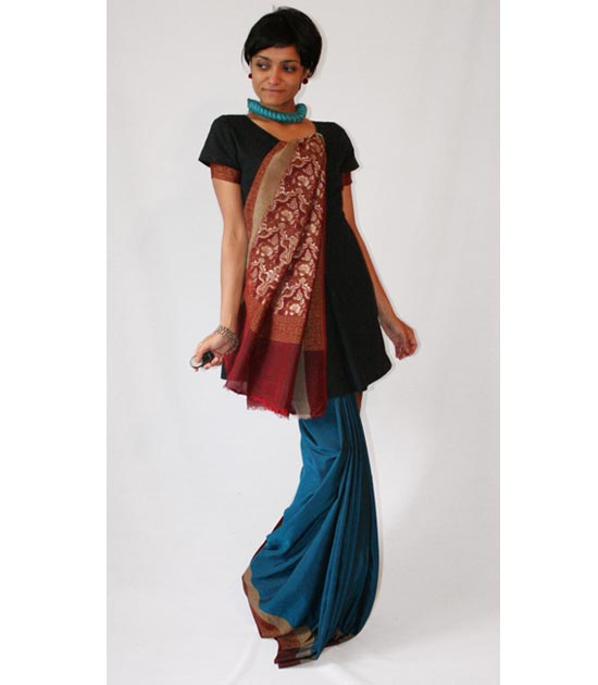 black dress with sari